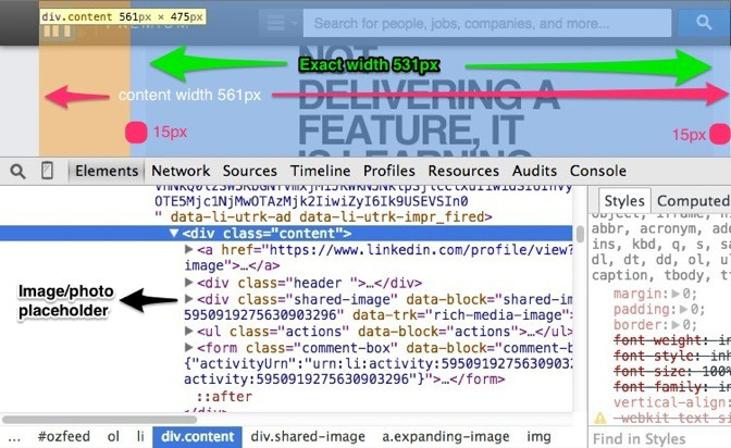 linkedin via chrome developer tools